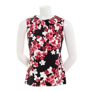 Calvin Klein Floral Pleat Neck Sleeveless Top Sz S